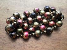 ELEGANT CHUNKY 2 STRAND FAUX PEARL STRETCH BRACELET MULTI METALLIC COLOURS
