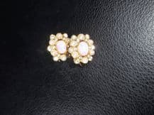 ELEGANT CLIP ON EARRINGS GOLD TONE FAUX SEED PEARLS SPARKLES & PINKY MOONSTONE