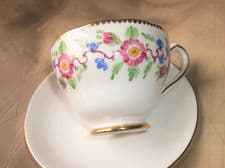 ELEGANT GILDED DEMITASSE CABINET CUP NEW CHELSEA HANDPAINTED WITH PLAIN SAUCER