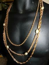 """ELEGANT NECKLACE 3 CHUNKY GRADUATED GOLD TONE CHAINS & FAUX TORPEDO PEARLS 28"""""""