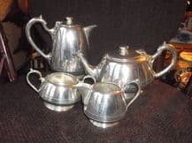 ELEGANT SILVER PLATED TEAPOT SUGAR BOWL MILK JUG & COFFEE POT WALKER HALL 17100