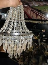 """ELEGANT SPARKLE CLEAR + FROSTED DROPS CHANDELIER LAMPSHADE CHROME RINGS 15"""""""
