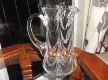 "ELEGANT VINTAGE UNUSUAL CHEVRON DESIGN CRYSTAL GLASS JUG 8"" GROUND POLISHED PONT"