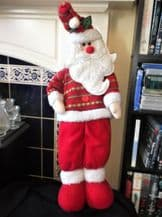"""FREESTANDING SANTA FIGURE SOFT PLUSH WIRED BODY WEIGHTED FEET DRESSED 26"""" HIGH"""