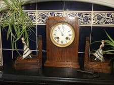 FRENCH ART DECO OAK CLOCK 13410 & COLD PAINTED ? DANCING LADY GARNITURE BOOKENDS