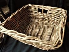 "GENUINE VINTAGE 14"" SQUARE RIGID WICKER BASKET TRAY WITH SIDE FINGER HOLES"
