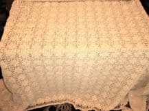 "GENUINE VINTAGE HAND CROCHET TABLECLOTH BEIGE CAFE CREME LINEN COTTON 80"" X 50"""