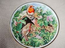 GILT DISPLAY PLATE de MONTFORD CHINA M CLEAVER ROBIN FAMILY PROUD MUM DAD CHICKS