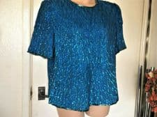 LADIES ELEGANT ELECTRIC TURQUOISE PURE SILK SEQUIN TOP SCALA FULLY LINED LARGE