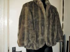 LADIES LOVELY BEIGE BLENDS LUXURIOUS SIMULATED FUR SHORT COAT NEXT SIZE 14