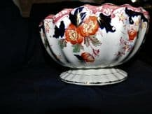 """LARGE ANTIQUE GILDED FOOTED BOWL BOLD ORIENTAL FLOW BLUE PATTERN 8.5"""" DIA"""