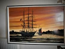 "LARGE FRAMED SIGNED PAINTING SUNSET BOATS HARBOUR ROBERT EATON 1978 37"" X 24.5"""