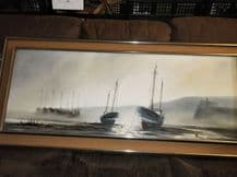 "LARGE ORIGINAL SIGNED OIL PAINTING ROBERT POWELL FISHING FLEET 54"" X 24"" TRITON"