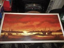 LARGE RETRO FRAMED ORIGINAL SIGNED D HUGHES OIL ON BOARD PAINTING BOATS HARBOUR