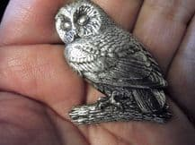 """LOVELY SOLID PEWTER PIN BROOCH OWL ON LOG PERCH SIGNED A. R. BROWN 1.5"""" HIGH"""