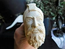 """MEERSCHAUM PIPE WITH DARK STALK IN FITTED CASE BEARDED GENT IN TURBAN 6.25"""""""