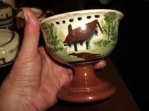 OLD DEVON POTTERY PEDESTAL SUGAR BOWL DISH HANDPAINTED COTTAGE DESIGN