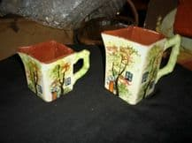 OLD DEVON TORQUAY POTTERY COTTAGE WARE SQUARE CREAM & MILK JUGS HANDPAINTED