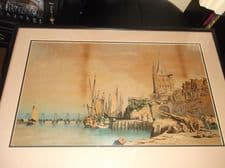 """OLD FRAMED ORIGINAL OIL PAINTING UNDER GLASS SHIPS IN HARBOUR 24"""" X 17"""" FRENCH ?"""