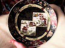 OLD HANDPAINTED ORIENTAL DISPLAY PLATE DENSE BLACK & RUST + WHITE PICTURE PANEL