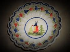 """OLD HB QUIMPER FRENCH FAIENCE SCALLOP RIM BOWL LADY IN GARDEN 7.5"""""""