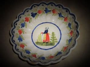 OLD HB QUIMPER FRENCH FAIENCE SCALLOP RIM BOWL LADY IN GARDEN 7.5