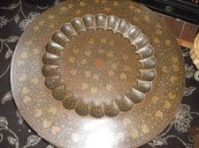 OLD LARGE CIRCULAR BRASS TRAY ENGRAVED ENAMELLED RECESS CENTRE ON NEW STAND 31""