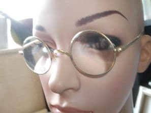 PAIR ANTIQUE SPECTACLES GOLD TONE RIMS SPRINGY HOOK ARMS + CASE RAO 20