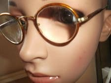 PAIR ANTIQUE SPECTACLES HORN LOOK RIMS GOLD TONE  SPRINGY HOOK ARMS H. CO 20 #4