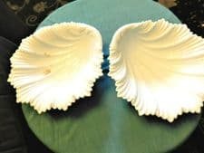 PAIR OF ANTIQUE COALPORT 1892 WHITE GLAZED SHELL LEAF TEXTURED DISHES Rd171793