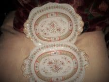 PAIR OF ANTIQUE GILDED OVAL DISHES MASONS PATENT IRONSTONE CHINA FLORAL DESIGN