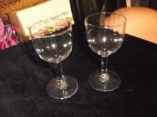 "PAIR OF VERY OLD FACETED LIQUEUR GLASSES GOOD UV GREEN GLOW 4.25"" HIGH EX COND"