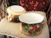 PAIR OF VINTAGE CHAMBERPOTS NEWHALL POTTERY BOLD FRUIT DESIGN GREAT PLANTERS