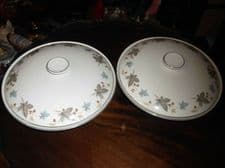 PAIR OF VINTAGE RIDGWAY VEGETABLE TUREENS WITH LIDS WHITE MIST GREAT CONDITION