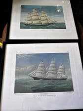 PAIR VINTAGE FRAMED GLAZED PRINTS MP GRACE & EXTREME CLIPPER INO CONNECTICUT