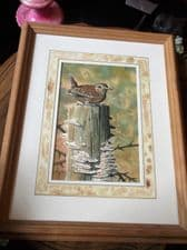 PINE FRAMED ORIGINAL SIGNED WATERCOLOUR PAINTING RICHARD WOODGATE WREN 2003