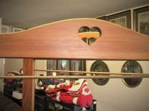 PINE MODESTY SCREEN 2 FOLDING ROOM DIVIDER + RODS FOR FABRIC CARVED HEART TOP