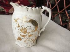 RARE ANTIQUE GILDED JUG WITH SILVER PLATED SWING LID GOLD FLORAL DESIGN ORNATE