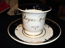 RARE ANTIQUE GILDED MASONIC CUP AND SAUCER COBALT DECORATION BOYNE LODGE 1570