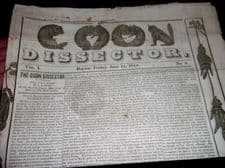 RARE ANTIQUE NEWSPAPER DAYTON COON DISSECTOR POLITICAL VOL 1 No 4 JUNE 1844