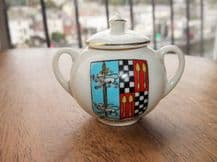 RARE COLLECTABLE VINTAGE CARLTON CRESTED WARE SMALL GILDED POT & LID DROITWICH