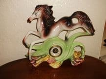 "RARE LARGE PRANCING CHINA HORSE ITALY CAPO ? 13"" MERCEDES GERMAN MANTEL CLOCK"
