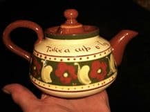 RARE PATTERN DEVON TORQUAY WARE MOTTO WARE SMALL TEAPOT TAKE CUP REFRESHING TEA