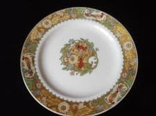 RARE VINTAGE HAND COLOURED SALAD PLATE GRINDLEY WRENBURY EXOTIC BIRD 8""