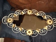 RETRO WROUGHT METAL WHITE COATED OVAL MIRROR ENAMELLED ROSES & GILDED DAISIES