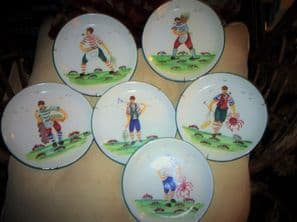 SET 6 VINTAGE HANDPAINTED WALL DISPLAY PLATES ITALY BOLD DESIGN FISHERMEN 7.75