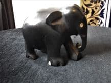 """SOLID EBONY WOOD OLD CARVED ELEPHANT 2"""" #642 SWEET HAPPY LITTLE CUTIE"""
