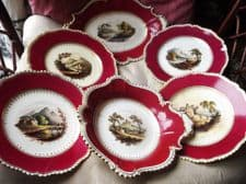 SUPERB ANTIQUE GILDED HANDPAINTED PANELS LOT RED RIMS 4 PLATES 1 DISH 1 PLATTER