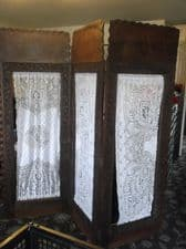 SUPERB ART NOUVEAU LOOK CARVED SCREEN 3 FOLDING ROOM DIVIDER + RODS ~ FABRIC TLC
