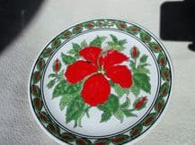 SUPERB FAROS DISPLAY PLATE HANDPAINTED BOLD DESIGN RED HIBISCUS GREEN LAUREL